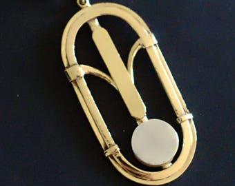 Art deco yellow brass and aluminium pendant