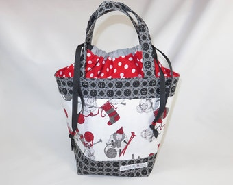 Medium Knitting Project Bag // Alyson Mini Tote // Knit One, Ewe Too!