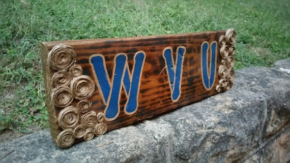 Excellent Wvu Rustic Wood Sign Creativecarmelina Interior Chair Design Creativecarmelinacom