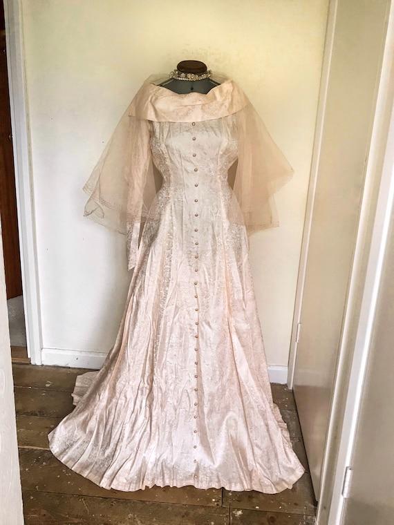 Vintage 1950s Pink Satin Floral Wedding Dress - W… - image 1