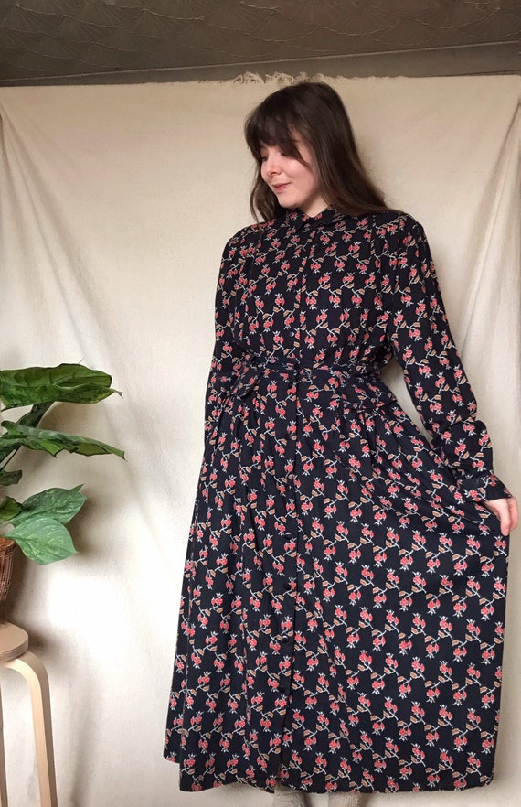 Vintage 1970s Adini Black Floral Shirt and Skirt S
