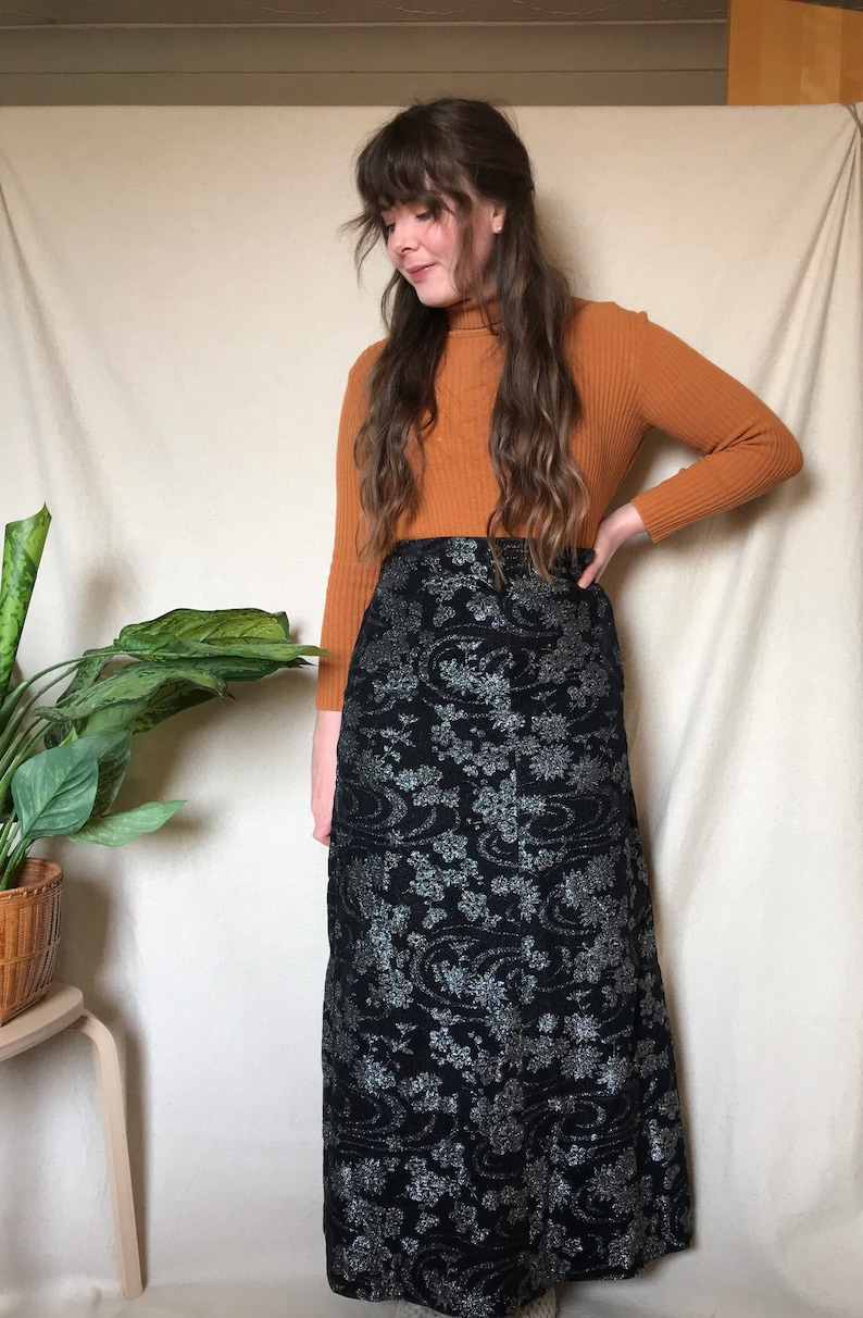 Vintage 1970s Black and Silver Glittery Floral Maxi Skirt