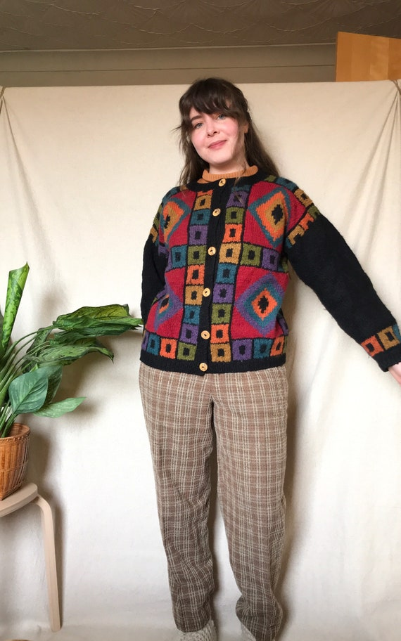 Vintage 1990s Bright Colourful Cardigan - 100% Woo
