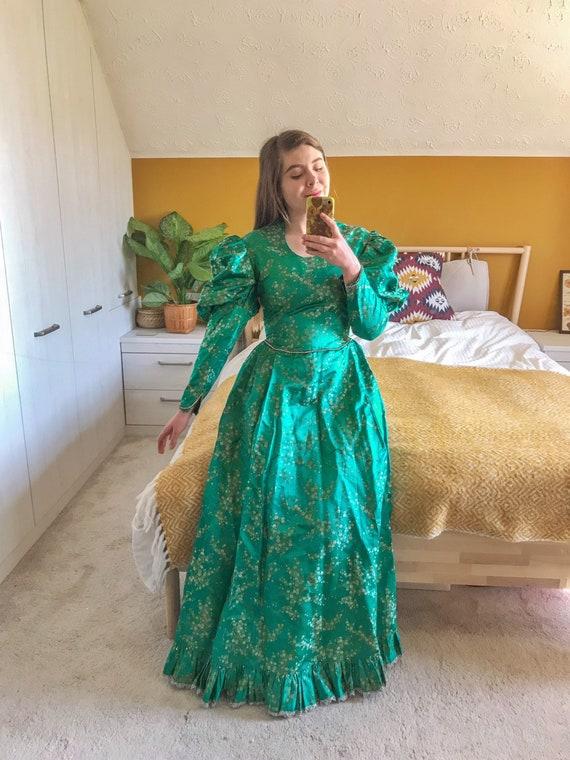 Vintage 1970s Green Satin Maxi Flamboyant Gown/Dre