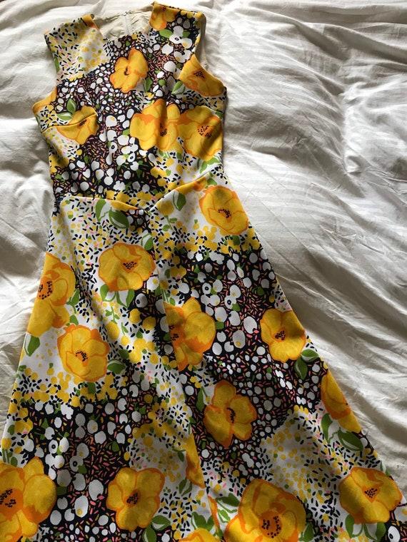Vintage 1960s Bright Yellow Floral Maxi Dress/Flo… - image 8