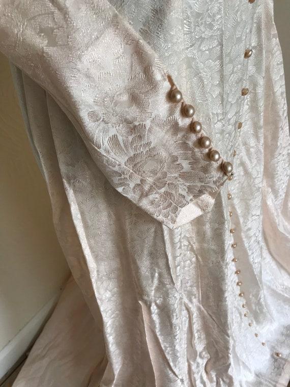 Vintage 1950s Pink Satin Floral Wedding Dress - W… - image 6