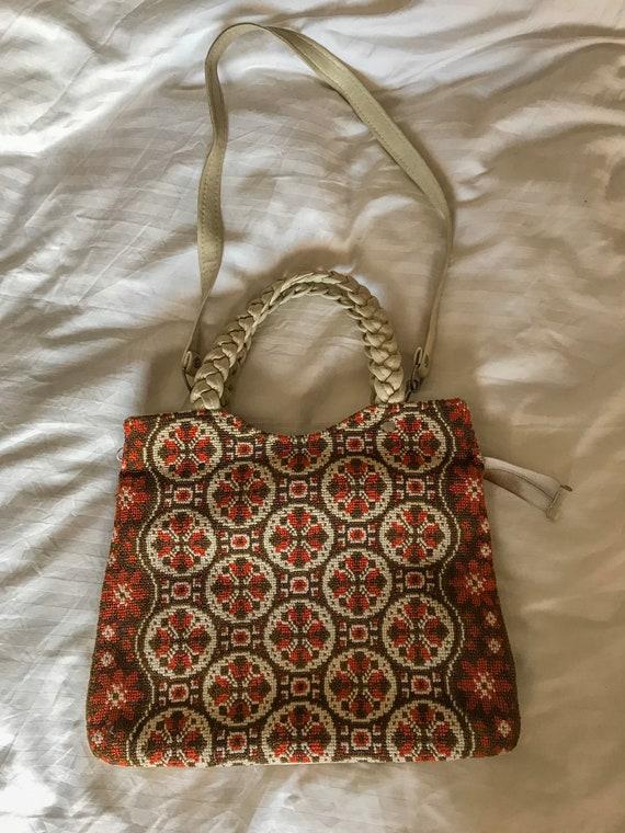 1960s Orange/Red Tapestry Handbag - Long Strap