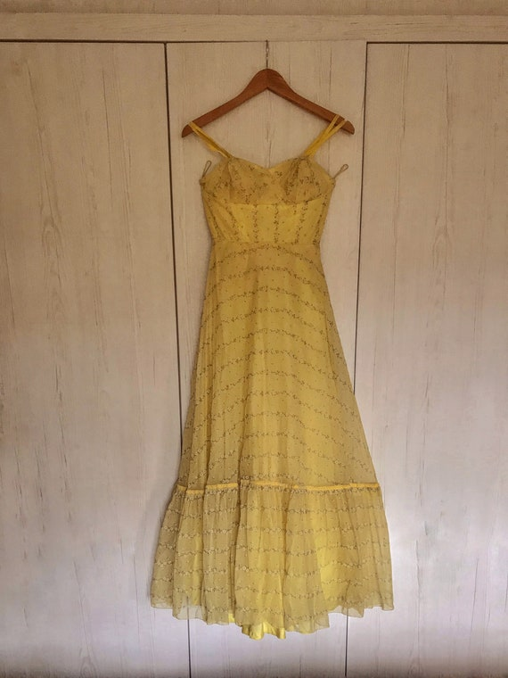 Vintage 1950s Yellow Floor Length Ditsy Floral Dre