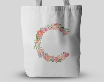 Floral Initial Name Flower Tote Shopper Shopping Bag Personalised Birthday Christmas Present Gift