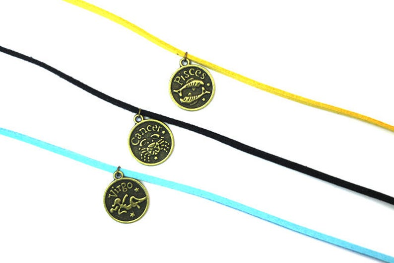 Zodiac Chokers in 3 Colors Aqua Goldenrod and Black image 0