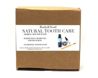 Natural Tooth Care Collection Set: Mouth Wash, Tooth Paste, Charcoal Tooth Paste, Bamboo Tooth Brush