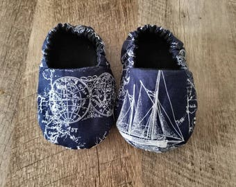 Sailor, navy blue, nautical, baby shoes, baby booties