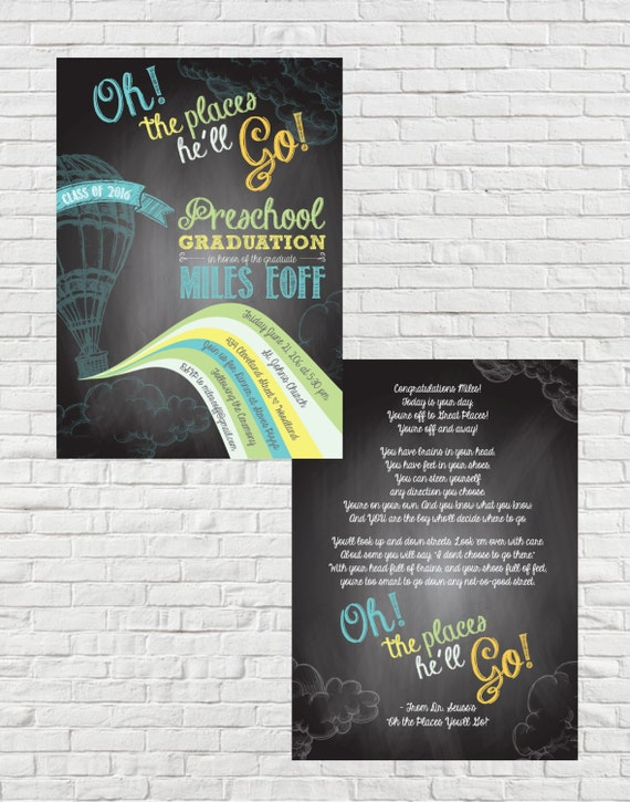oh the places he ll go preschool double sided graduation etsy