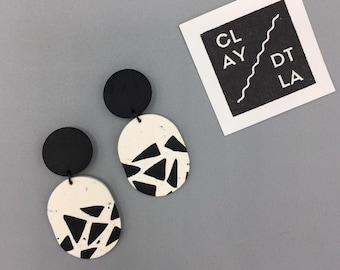 Polymer Clay Geometric Dangle Earring | Black on White Geometric Pattern Earring