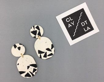 Polymer Clay Geometric Dangle Earrings | Black and White Geometric Pattern Clay Earrings