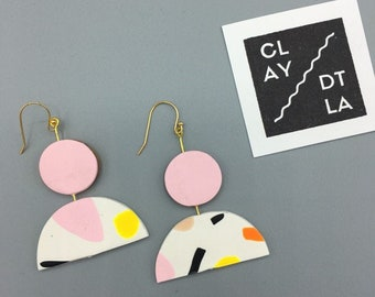 Polymer Clay Earring | Statement Polymer Clay Earring | Geometric Statement Earring