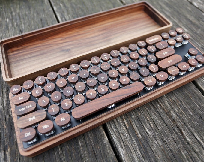 Featured listing image: Wooden Keyboard With Retro Typewriter Keycaps