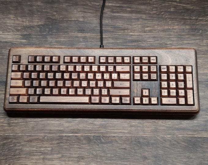 Featured listing image: Wooden Keyboard MK-9, walnut wood , wood mechanical keyboard, rustic style, unique desk keyboard