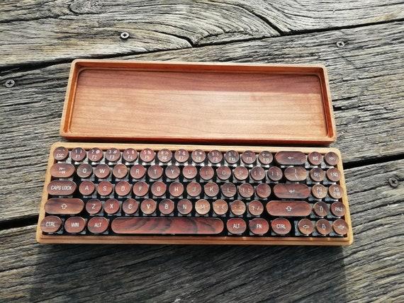 CroLander  Wooden Keyboard  with Typewriter Keycaps