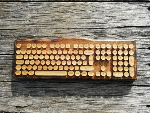 CroLander Wooden Typewriter Keyboard