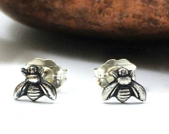 Tiny Bee Earrings, Tiny Stud Earrings, 24k Gold Bee Earrings, Bee Studs, Bumble Bee Earrings, Bee Studs, Bumble Bee Studs, Solid Silver