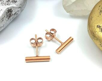 Copper Bar Studs, Bar Earrings, Copper Bar Earrings, Copper Stud Earrings, Bar Stud Earrings, Minimalist Studs, Tiny Stud Earrings