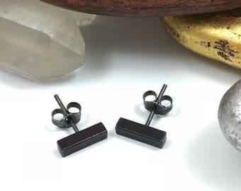 Black Bar Earrings, SOLID Silver Bar Studs, Silver Bar Earrings, Silver Stud Earrings, Bar Stud Earrings, Minimalist Stud Earrings, Bar Stud