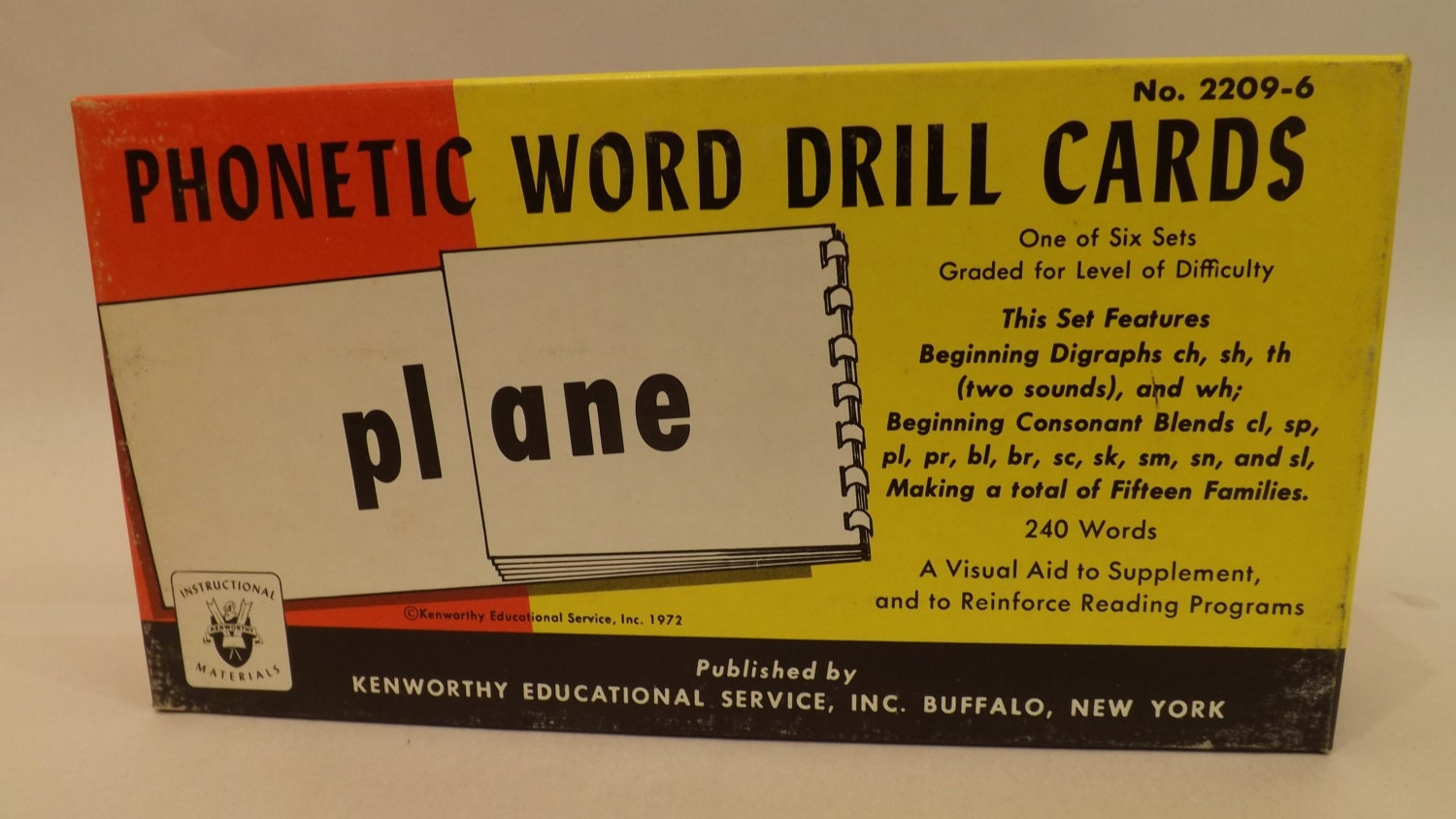 Vintage NOS Phonetic Word Drill Reading Flash Cards Beginning  Diagrams,ch-sh-th etc by Kenworthy Eductional Service 1972 # T-208-10
