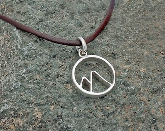 Circular Mountain Chunky pendant - Handmade Sterling silver & leather - Mens Jewelry - Mountain man - Adventure jewelry - Extreme sports