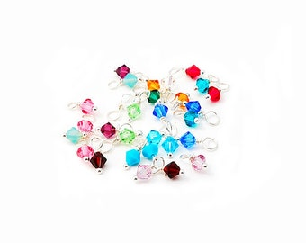 BULK Swarovski Crystals Birthstones, Sterling Silver, Dangle, Drop, Birthstone Set, 4mm, Wire Wrapped, Bicone, Swarovski Dangle, Add On,GIft