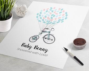 fingerprint tree guestbook alternative Tricycle Baby Shower Guest Book guest book poster baby shower gift Birthday Guest Book