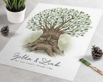 Deku Tree Zelda Wedding Guest Book: Legend of Zelda fingerprint guest book, fingerprint tree, thumbprint tree, nerdy guestbook alternative