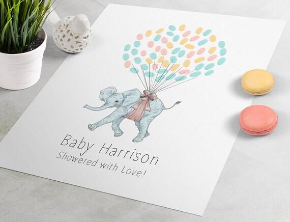 fingerprint tree Elephant Baby Shower Guest Sign In is the perfect baby shower guest book Baby Shower Guest Book Gift thumbprint art