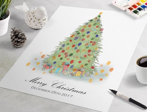 Weihnachten Gastebuch Weihnachtsbaum Fingerabdruck Gastebuch Etsy