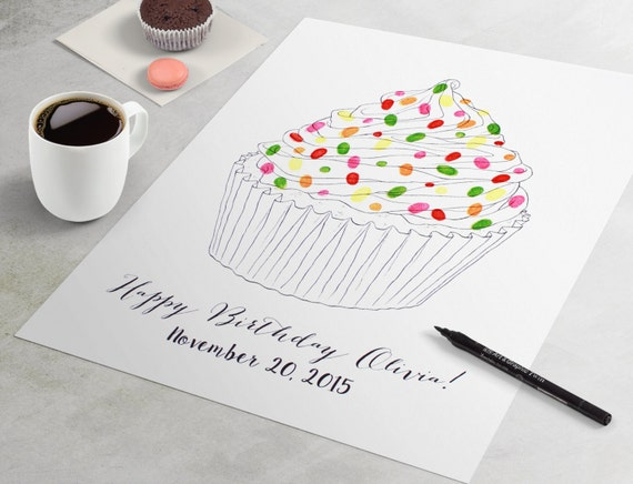 Geburtstag Gastebuch Cupcake Fingerabdruck Gastebuch Fur Etsy