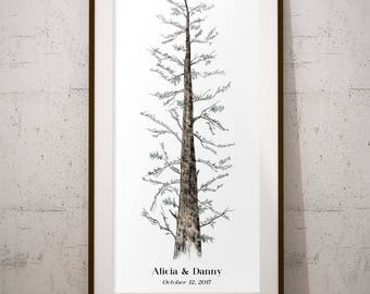 Rustic Wedding Guest Book - Country Wedding, Guestbook Alternative, Signature Tree, Pine tree, unique guest book, housewarming gift, home