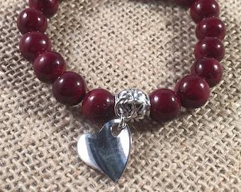 Silver Heart Charm Red Bead Stretch Bracelet, Heart Charm, Beaded Bracelets