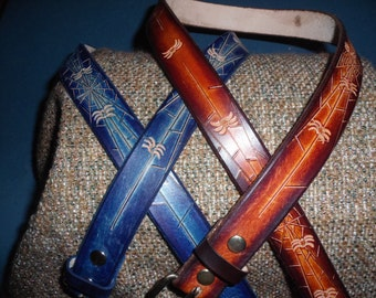 """SPIDER WEB BELT~~~HandTooled~~~Genuine Leather~~~1 1/2"""" Wide~~~Comes in 5 Different Colors!~~~Engraving Free!"""