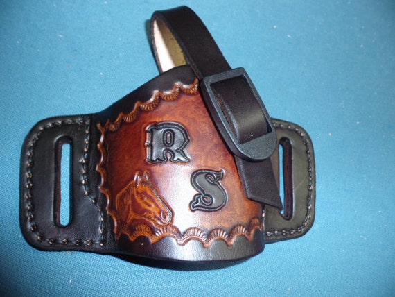 OPEN CARRY Holsters~Taurus, Ruger, Glock, S&W, Kimber, 1911  380  40 45  Cal  Revolvers  357 or  38 cal  etc  Genuine Leather~ENGRAVED Free!