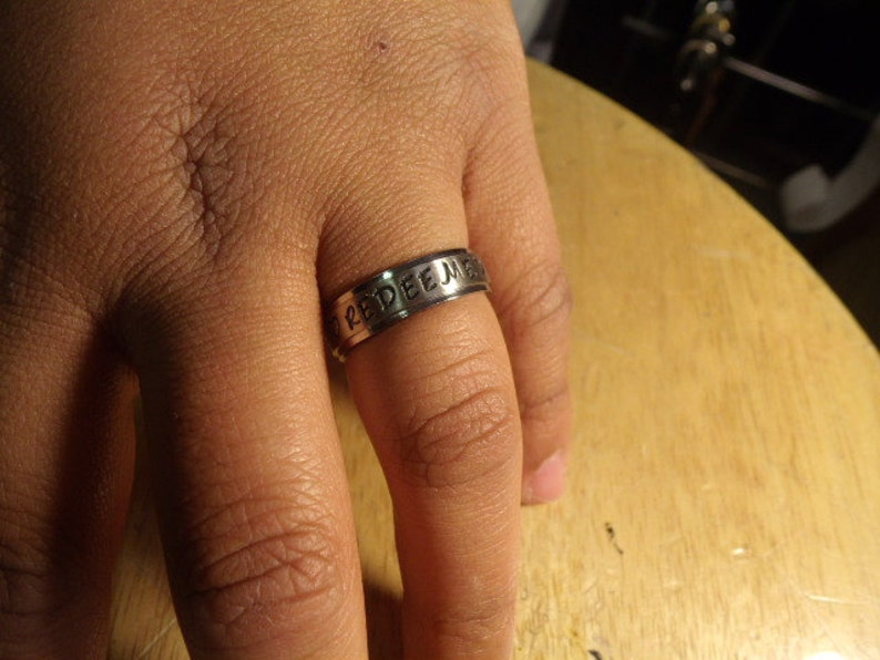 Ships in 3-5 days! NAME RINGS Style # 205 Silver ~~~316 Stainless Steel ~~ 6mm wide~~Comfort Fit Band~~~sizes 4-14~~~Engraving is Free