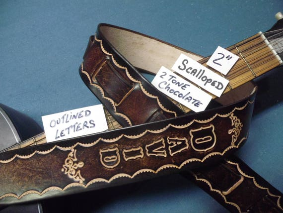 "LEATHER GUITAR STRAP CUSTOM MADE BLACK /& NATURAL WITH YOUR NAME 2 1//2/"" WIDE"