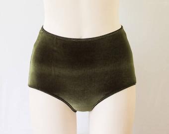 Green Velvet High Waisted Panties  Velvet Lingerie be5a08e7e