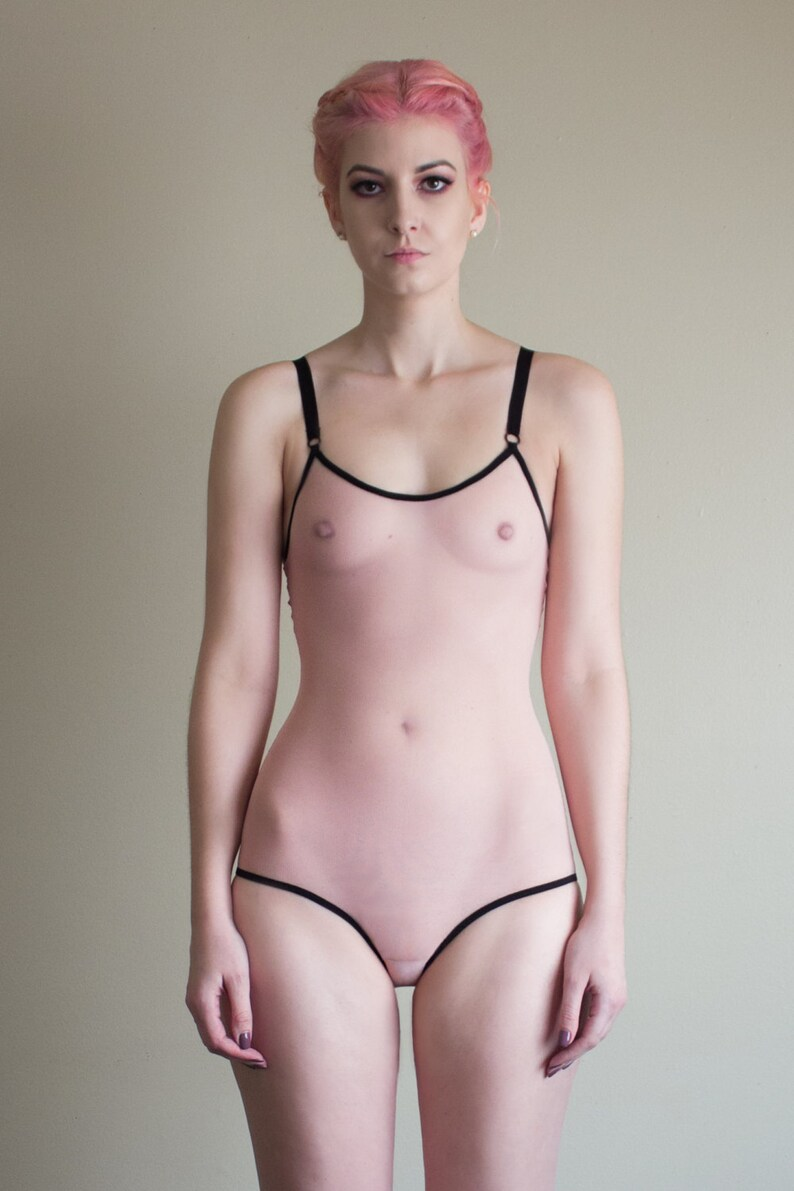 7490c8c274 Sheer Pink and Black Lingerie Bodysuit  Pink Bodysuit Sheer