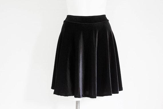 0a76a8dd28 Black Velvet Skater Skirt  Black Fashion Black Skirt Goth
