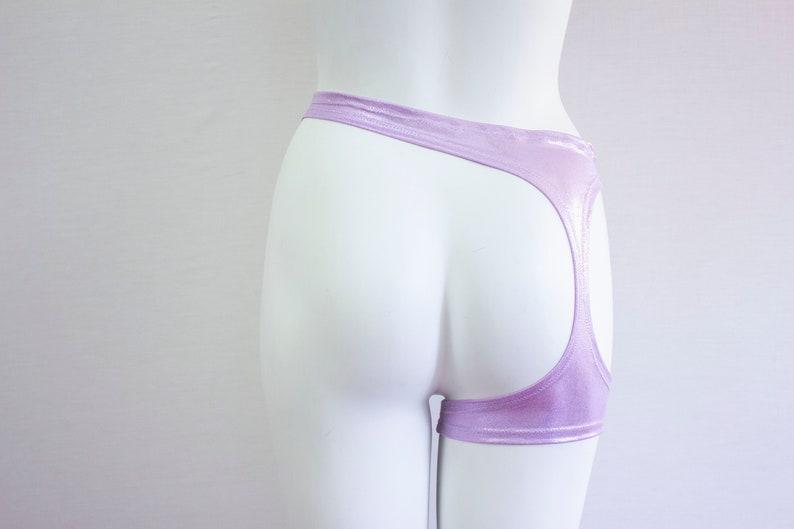 Exotic Dancewear Purple Leggings Pastel Goth Avant Garde Boudoir Festival Fashion Rave Outfit Lavender Lingerie: Garter Belt LGBTQ
