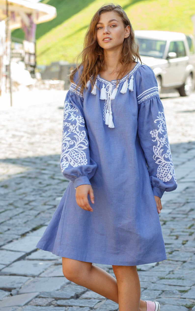 3111a087d9b Ukrainian Embroidered Linen Dress Vyshyvanka Dress Ethno Dress