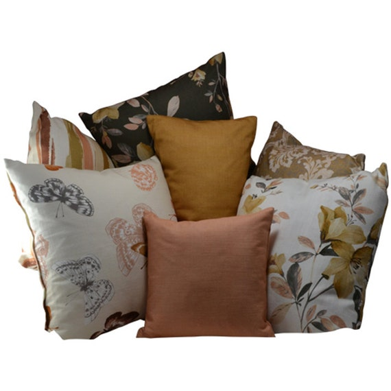 Magnificent Spring Sale Set Of 7 Butterfly Floral Printed Pillow Covers Peach Gold Beige Brown 18X18 12X12 12X21 Durable Sofa Bed Throw Pillow Covers Gmtry Best Dining Table And Chair Ideas Images Gmtryco