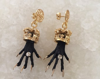 Crowned Rodent Paw Earrings