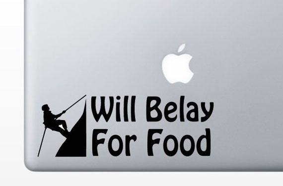 will belay for food rock climbing vinyl decal sticker for. Black Bedroom Furniture Sets. Home Design Ideas