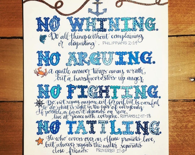Parenting - 4 Rules To Follow, Anchor Theme, Bible Verse Print, Hand Drawn